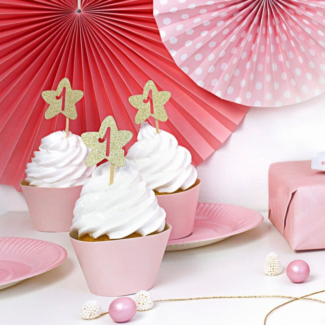 Cupcake Toppers - Gold Stars 1 Year Old 6pcs - PartyDeco