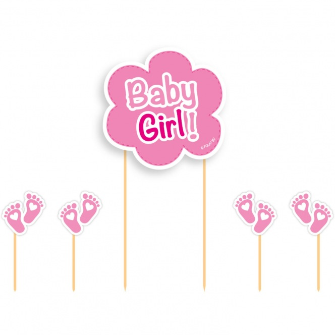 Cake Toppers - Baby Girl 5pcs - PartyDeco