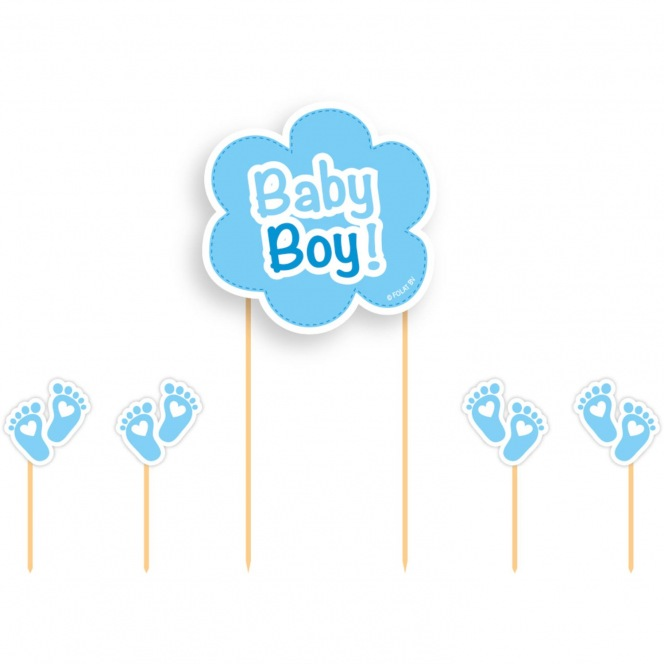 Cake Toppers - Baby Boy 5pcs - PartyDeco