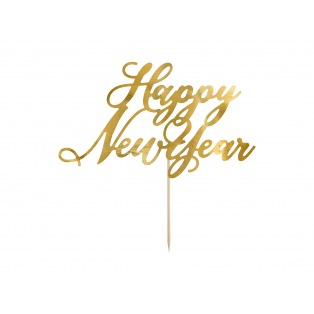 Cake Topper - Happy New Year - Gold - Partydeco