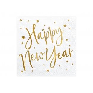 20 Serviettes - Happy New Year - Doré - PartyDeco