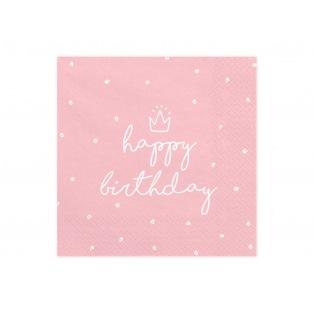 20 Serviettes - Happy Birthday - Rose & Couronne - PartyDeco