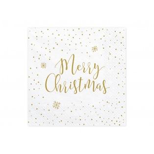 20 Napkins Merry Christmas - White/Gold- PartyDeco