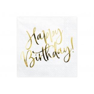 20 Napkins - Happy Birthday - Rose gold- PartyDeco