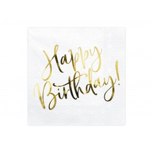 20 serviettes - Happy Birthday - Doré- PartyDeco