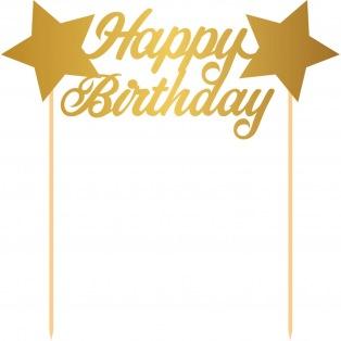 Cake Topper - Happy Birthday/Gold - Folat
