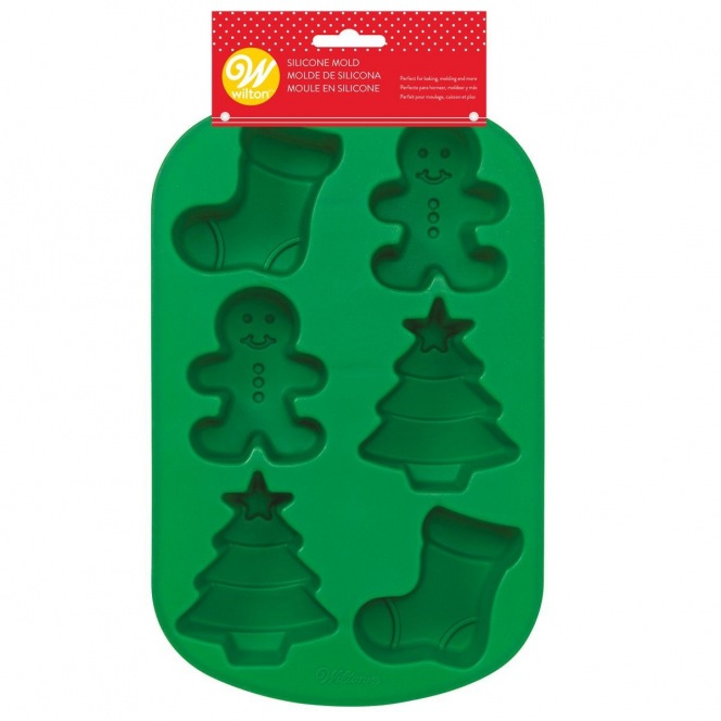 Silicone Mould - Stocking/Gingerbread/Tree - Wilton