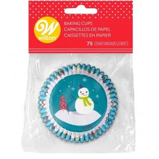Caissettes à cupcakes - Bonhomme de neige 75 pcs Wilton