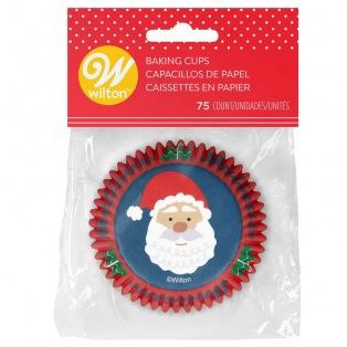 Baking Cups /75st - Donkerblauwe Kerstman - Wilton
