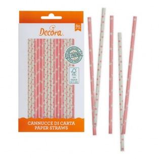 Pailles en papier rose et blanc 80pc - Decora