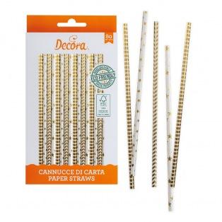 80 gold paper straws sticks - Decora