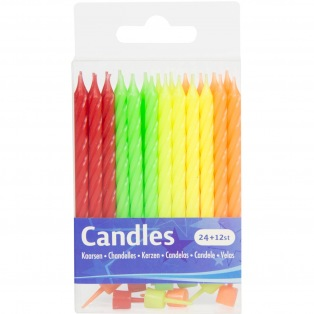 Candles Neon Colours - 24pcs - Folat